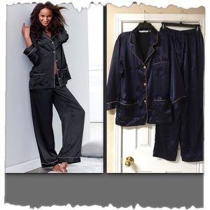 Victoria's Secret Navy Blue Satiny Pajama Set